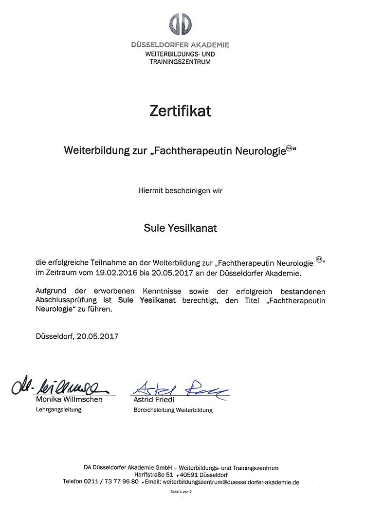 Zertifikat - Fachtherapeutin Neurologie